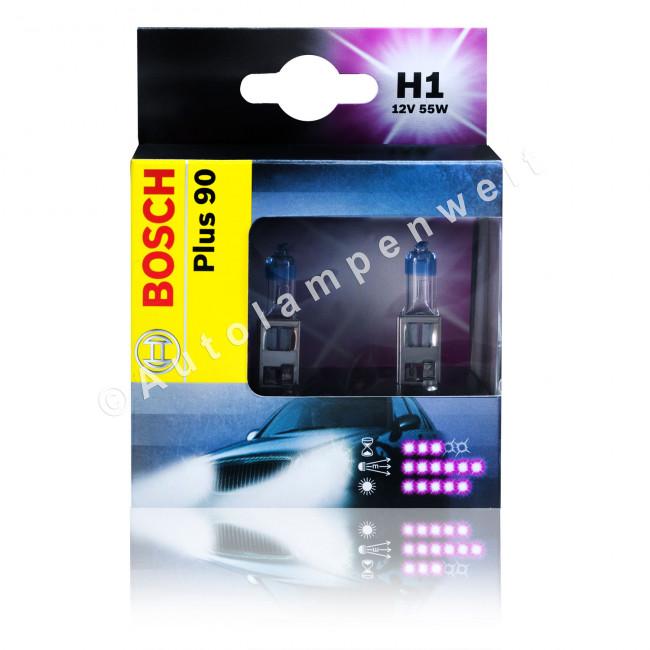 bosch h1 plus 90 mehr licht power fahrzeuglampe 2er set. Black Bedroom Furniture Sets. Home Design Ideas