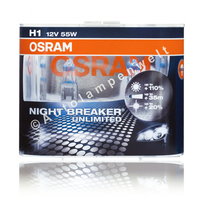 osram h1 night breaker unlimited halogen scheinwerferlampe. Black Bedroom Furniture Sets. Home Design Ideas