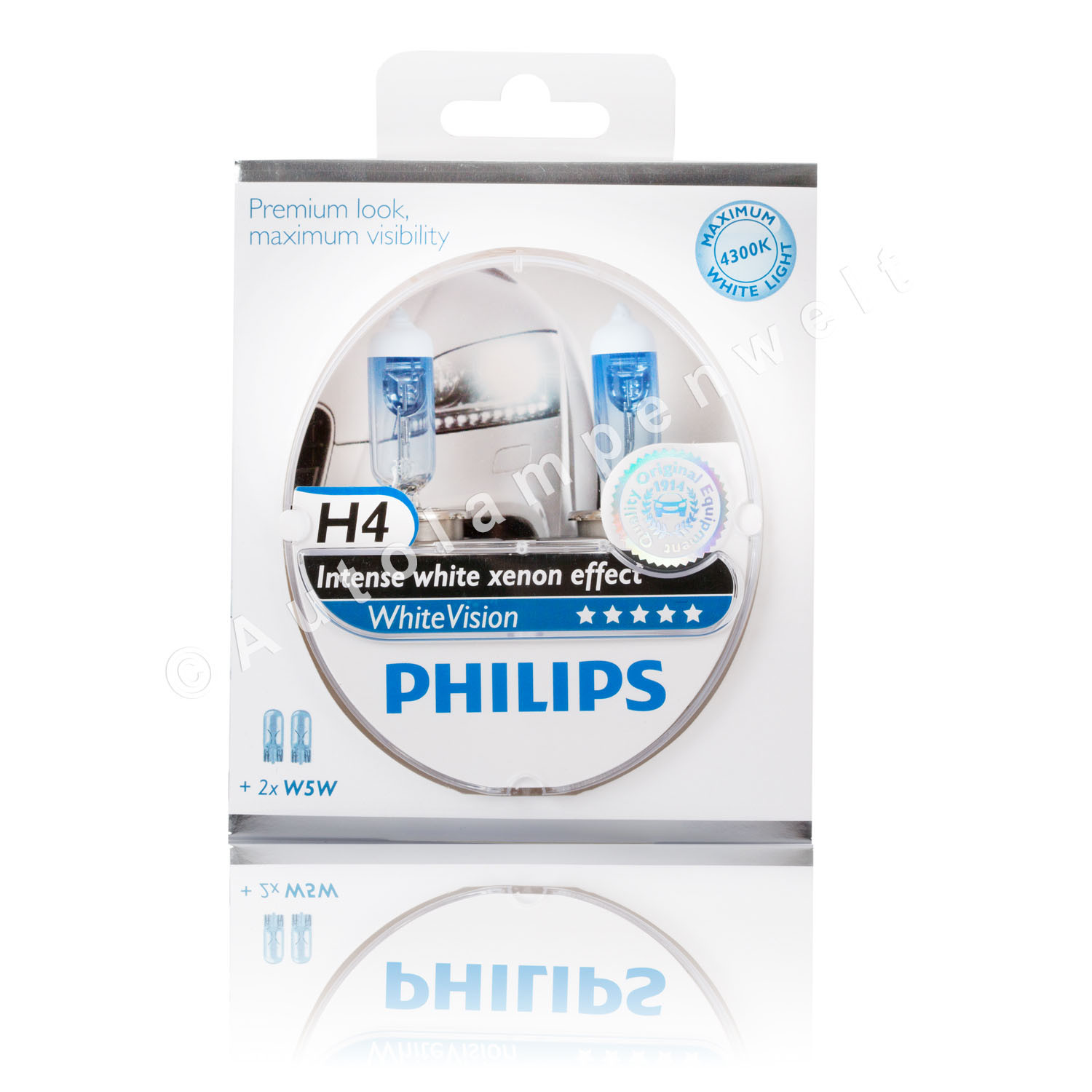 philips white vision h4 halogen scheinwerferlampe duopack. Black Bedroom Furniture Sets. Home Design Ideas