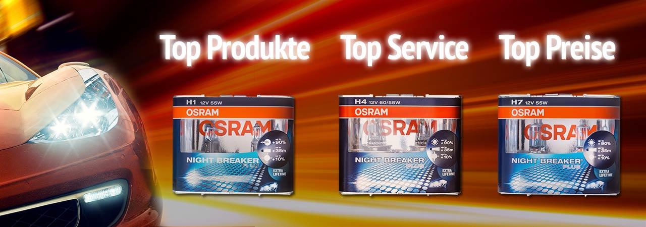 Xenon Brenner D1s, D2s, D1r, D2r und Glühlampen H7, H4, H11, H3, H1 von Osram und Philips